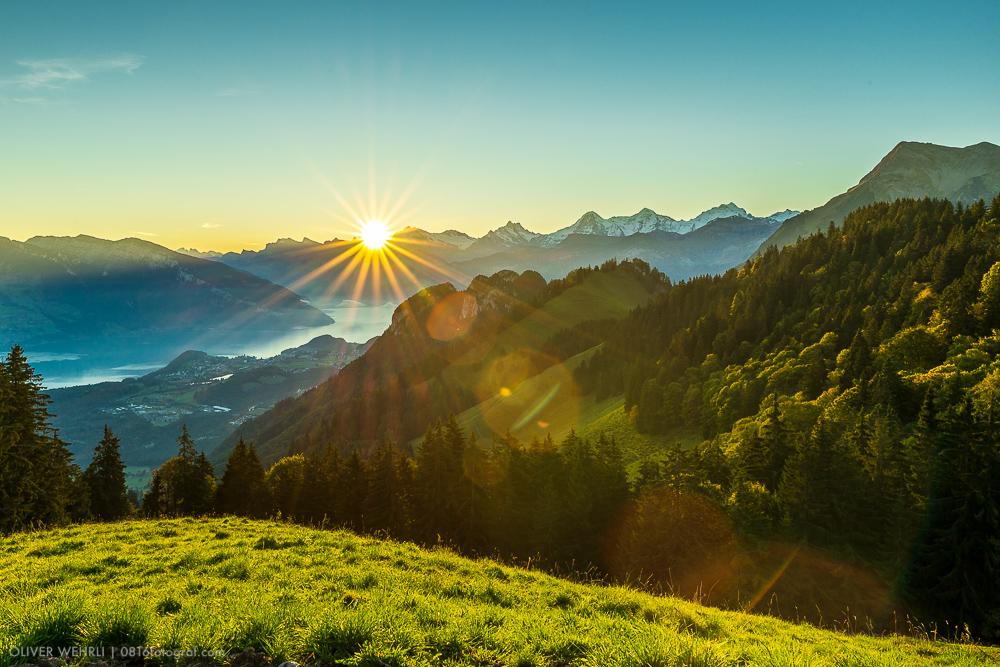 Berner Oberland, Thunersee, Eiger, Mönch, Jungfrau, Morgen, Sonnenaufgang,