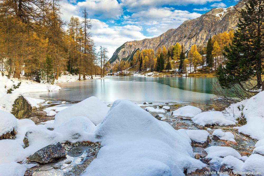 Palpuogna, Palpuognasee, Lago di Palpuogna, Lai di Palpuogna, Albulapass, Bergün, Graubünden, Bündnerland, Bergsee, Herbst