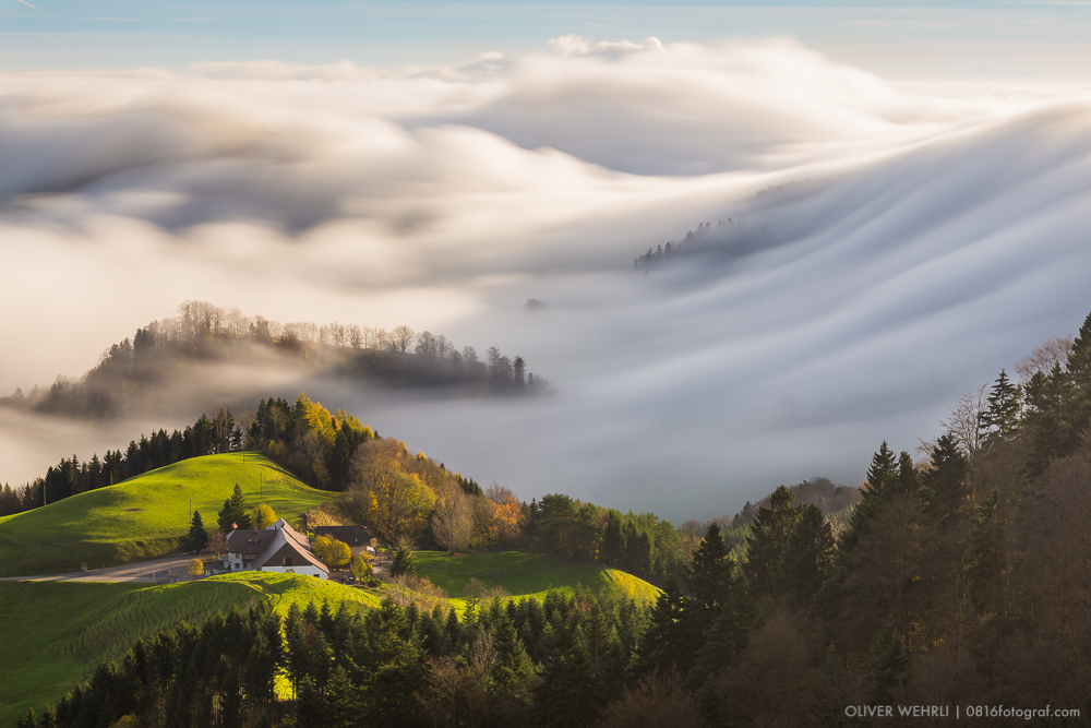 Nebelwelle, Nebelfluss, Nebel, Morgennebel, Oberbölchen, Belchenflue Nebel, Herbstfoto, Landschaftsfotografie