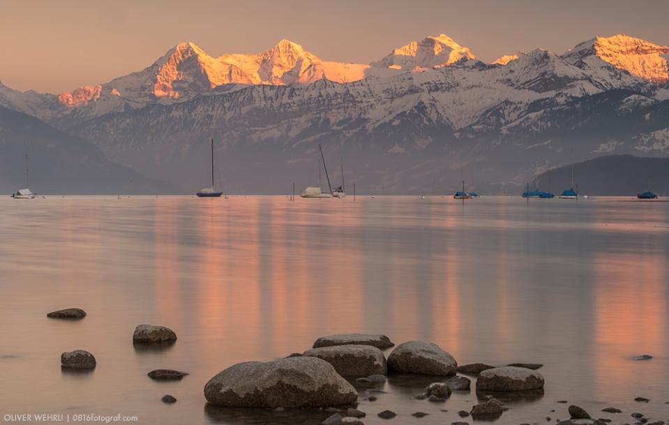 Thunersee, Berner Alpen, Eiger, Mönch, Jungfrau