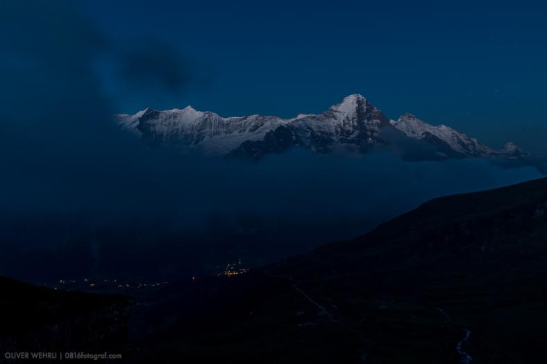 Eiger, Eigernordwand, Grindelwald, Berner Oberland, blaue Stunde