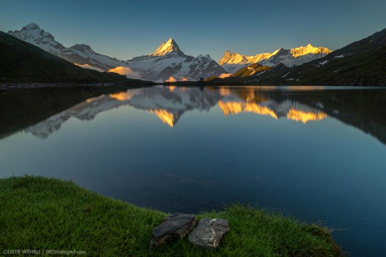 Wetterhorn, Bachalpsee, Schreckhorn, Berner Oberland, Berner Alpen, First, Grindelwald, Landschaft, Spiegelung, Nebel
