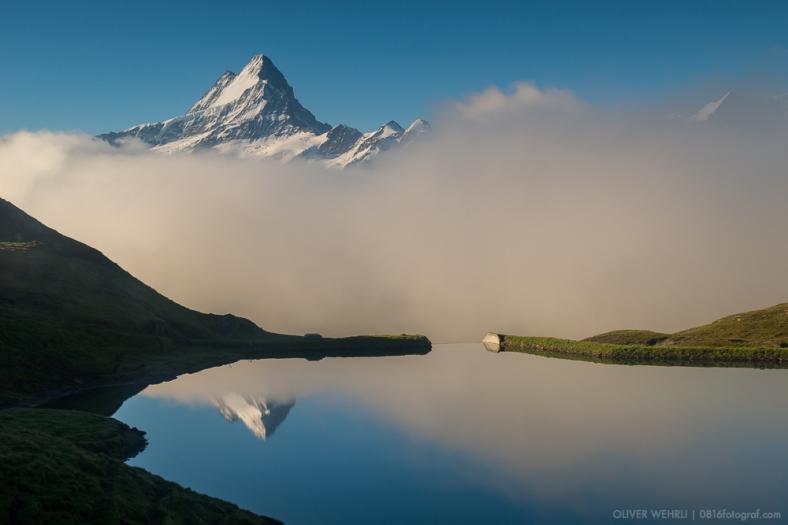 Bachalpsee, Schreckhorn, Berner Oberland, Berner Alpen, First, Grindelwald, Landschaft, Spiegelung, Nebel