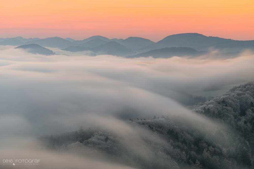 Gisliflue, Aargau, Nebel, Nebelmeer. Aufnahme mit Fuji X-T10, 90mm