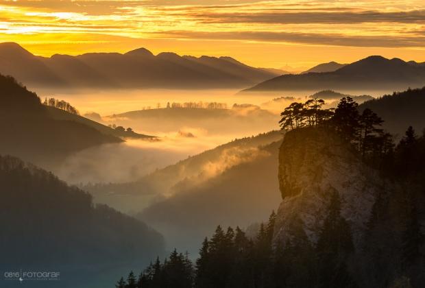 Sonnenuntergang im Schweizer Jura bei den Ankenballen, Herbstfoto, Landschaftsfotografie