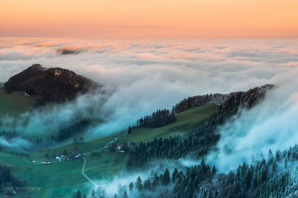 Belchenflue, Sonnenuntergang, Nebel, Herbst, Landschaftsfotografie, Herbstfoto