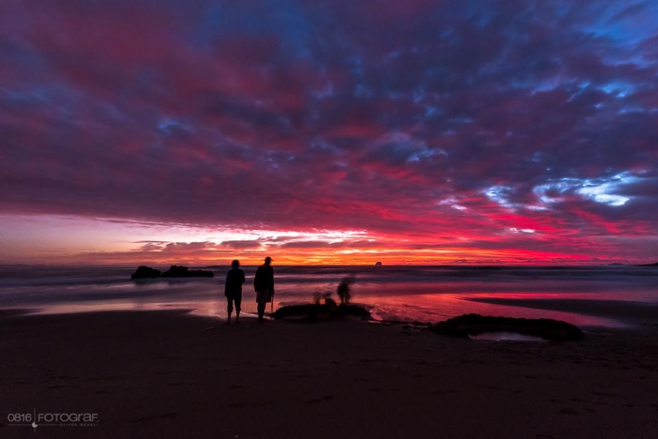 Hot Water Beach, Coromandel, Sonnenaufgang, Morgen, Morgenrot, Beach, Strand