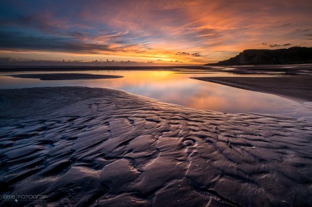 Black Sandy Beach, Black Sand Beach, Kai Iwi Beach, Neuseeland, New Zealand, Wanganui, Sonnenuntergang, Beach, Schwarzer Sand