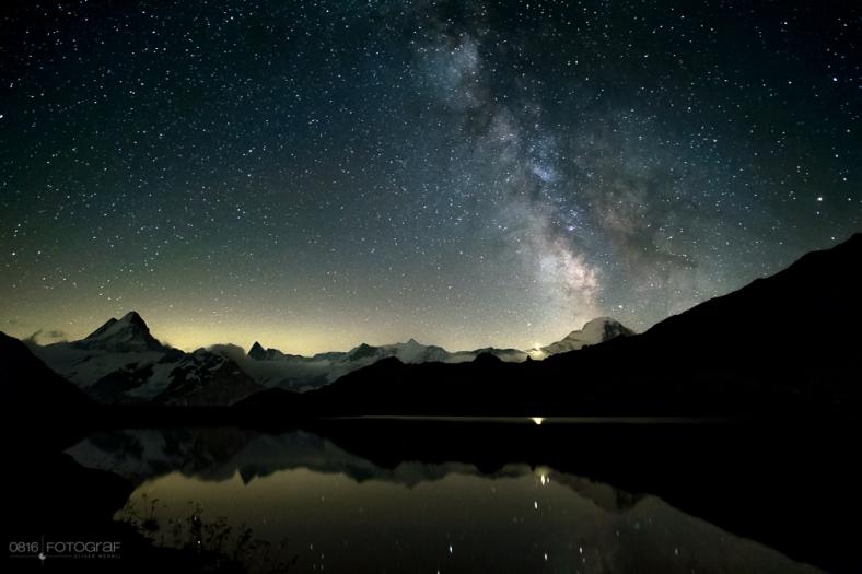 Grindelwald First, Bachalpsee, Bergsee, Berner Oberland, Schreckhorn, Wetterhorn, Finsteraarhorn, Bergspiegelung, Sterne Bachalpsee, Milchstrasse Bachalpsee